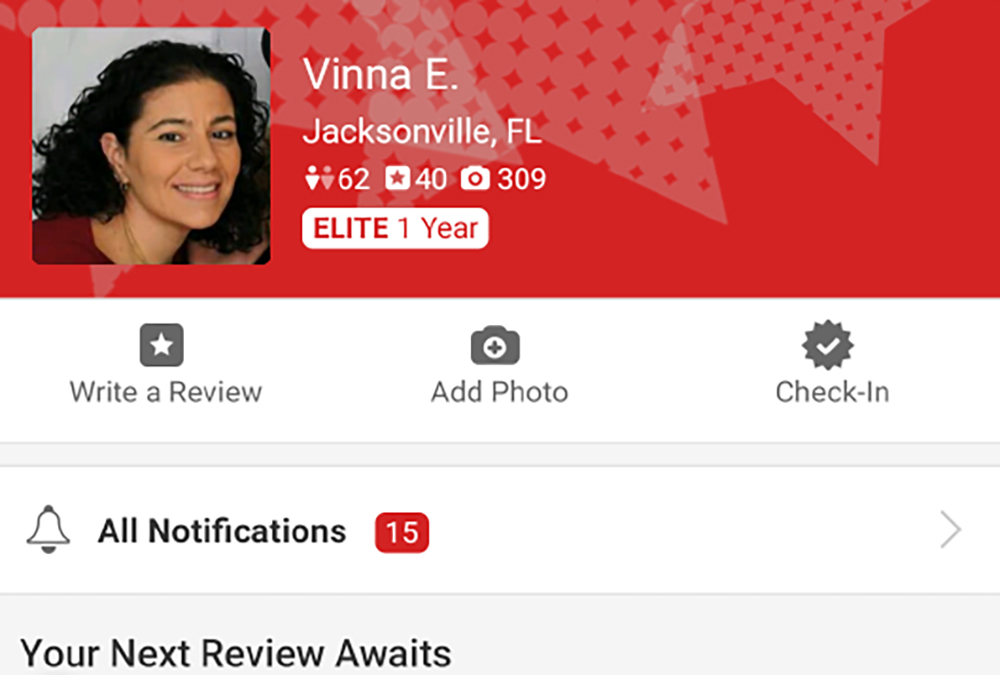 Vinna Yelp Elite Profile