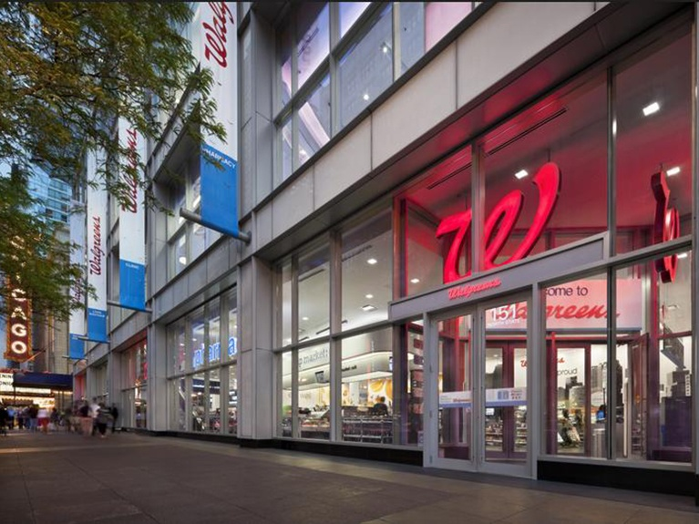 Storefront of Walgreens' flagship store in Chicago.