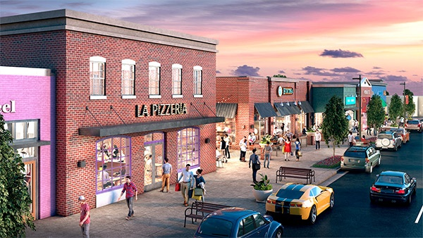 rendering of la pizzeria in Carytown Exchange