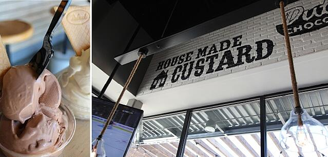 "Split photo of a cup of custard and a white-brick wall inside Super Chix that has ""house made custard"" painted on  it."