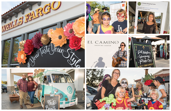 Collage of photos from re-opening event, including an old WV van and kids with painted faces.