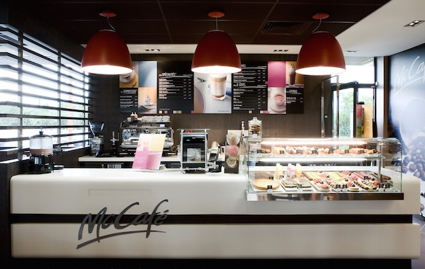Inside McDonald's concept McCafe in Paris.