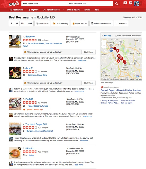 A list of Yelp star reviews of various restaurants.
