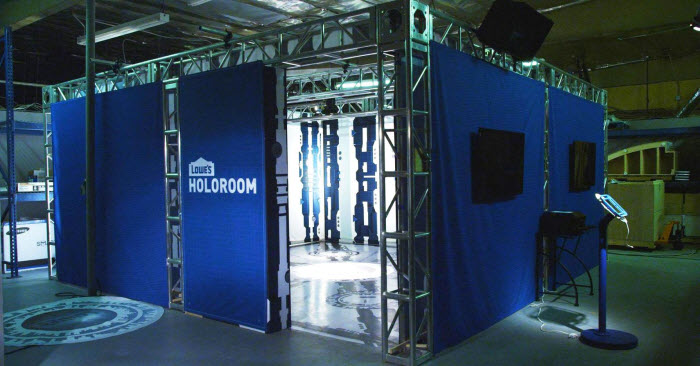 Lowe's Holoroom, a square-shaped room with blue panels covering the outside.