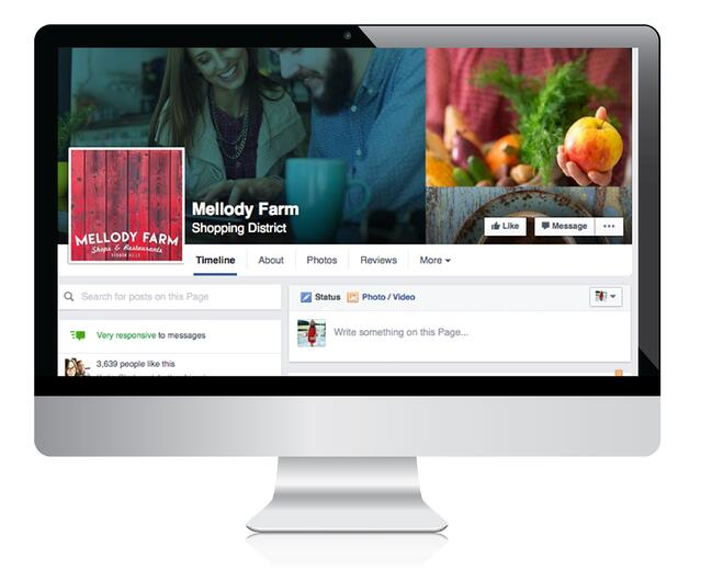 desktop computer with Mellody Farm facebook page on screen