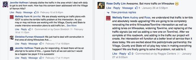 Facebook responses for negative traffic from Mellody Farm