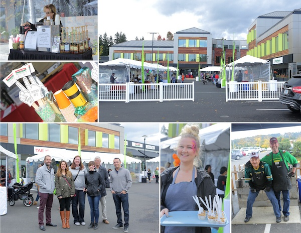Collage of images from the event, including a woman offering free samples of food and event-goers posing for a photo.