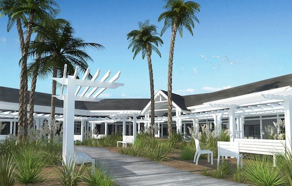Digital rendering of Newland Center with a coastal makeover, with palm trees and white benches.