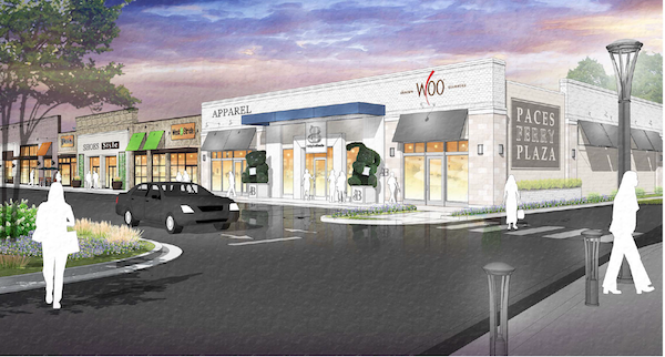 Rendering of various storefronts.