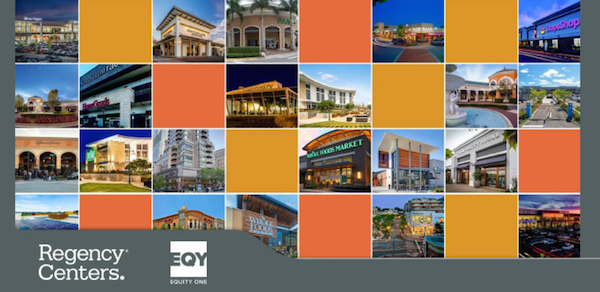 Collage of various storefronts with yellow and orange squares between the pictures.