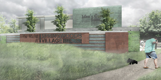 Rendering of the Market and Springswoods Village plaza sign