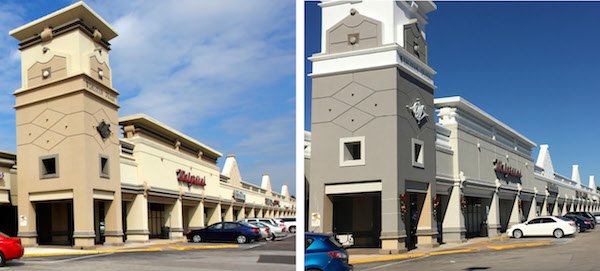 Before and After photos of a walgreens storefront.