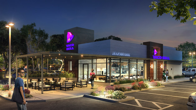 rendering of new taco bell store at night