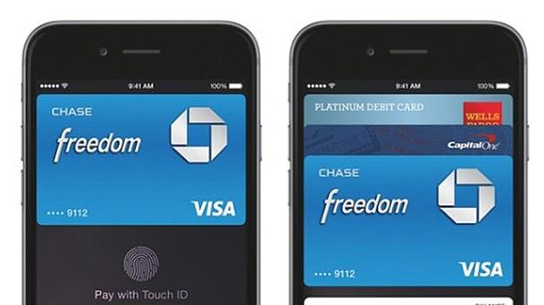 two black iphones showing apple pay using a chase freedom card as the example