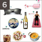 Summer essentials, including sunglasses, wine, nail polish and yoga.