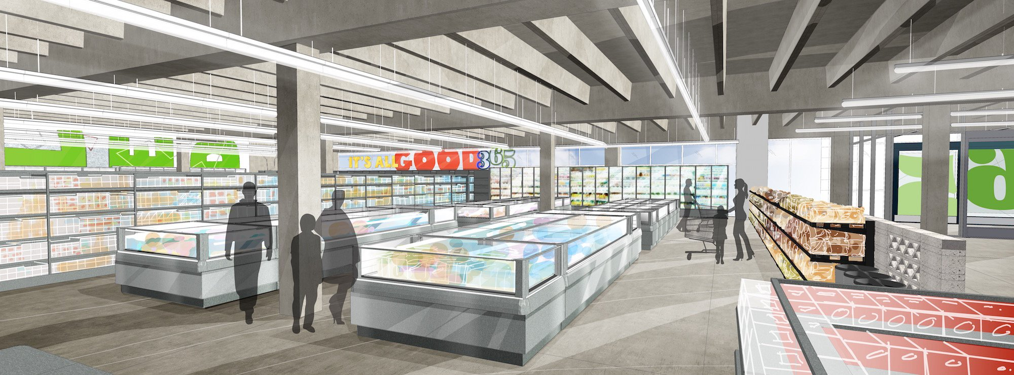 Rendering of inside a 365 Whole Foods store.