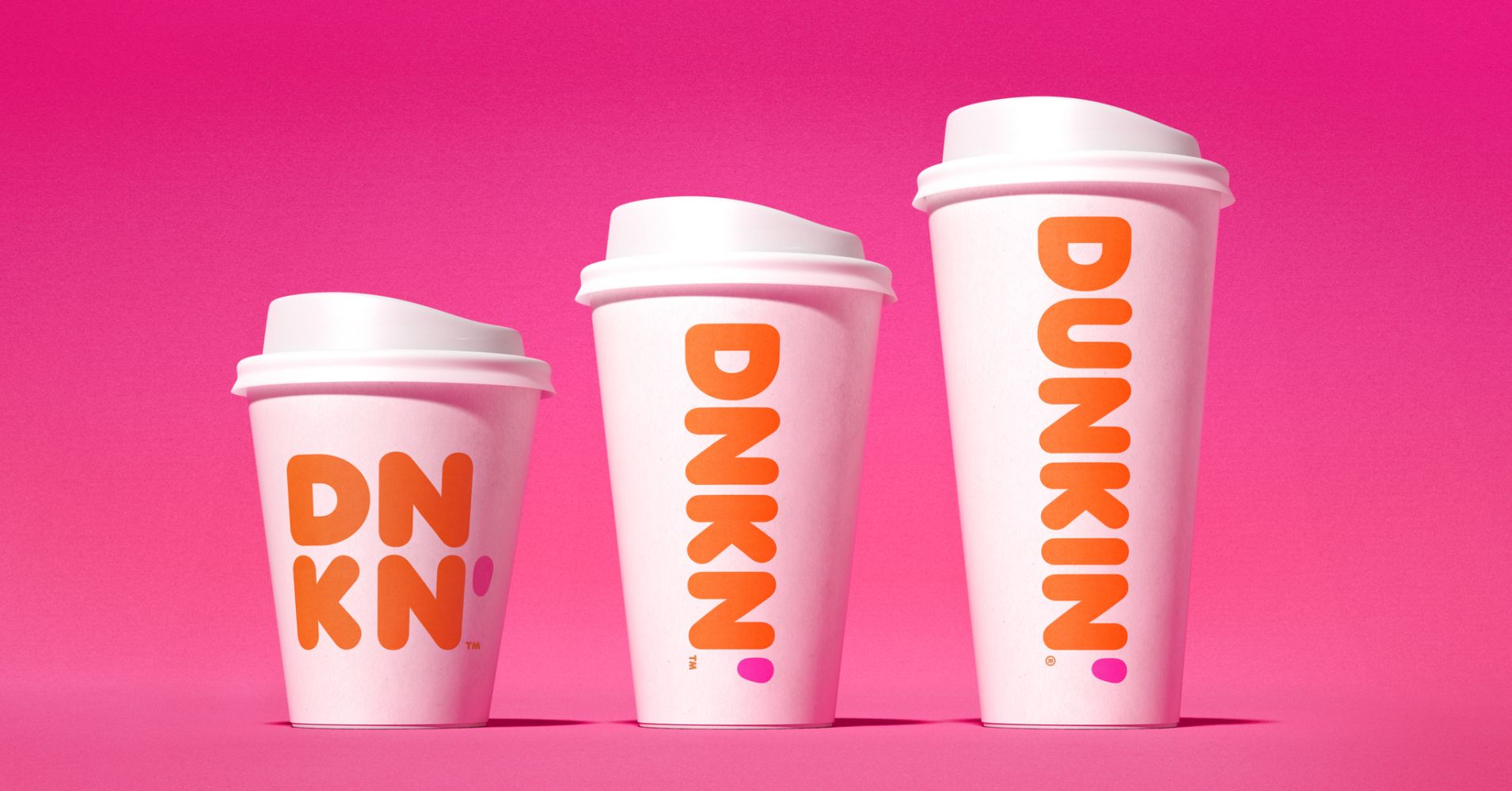 Display of the new Dunkin' cups, from small to large.