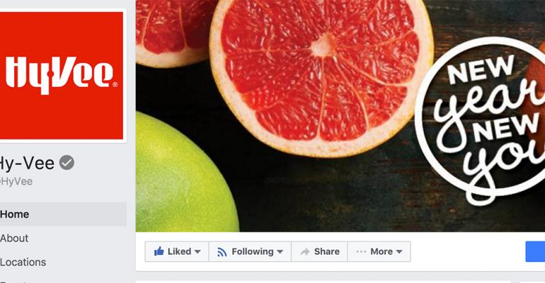 Facebook company page for Hy Vee supermarket, with a close-up image of a sliced grapefruit.