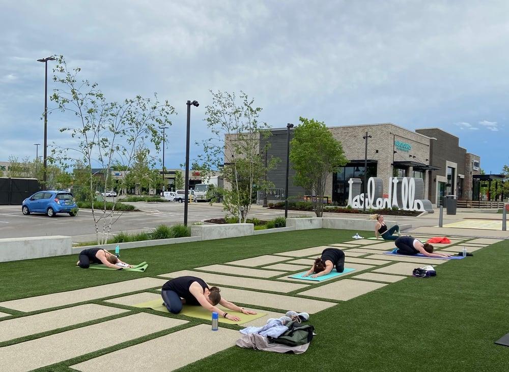 Stretching on yoga mats