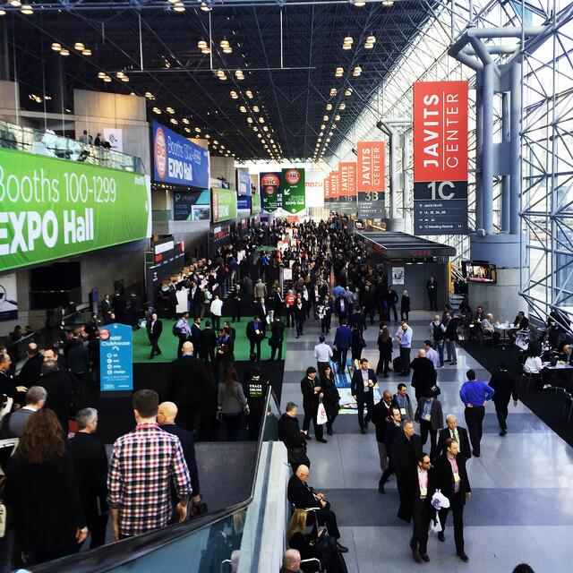 Foot traffic inside of the Javits center during a convention