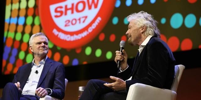 Sir Richard Branson speaking at NRF.