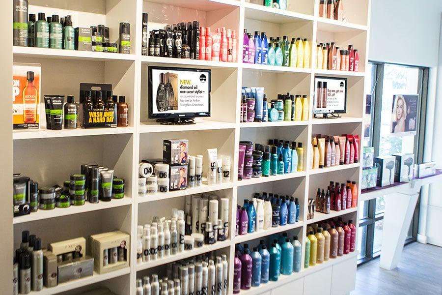 Shear Art Salon & Spa Product Wall
