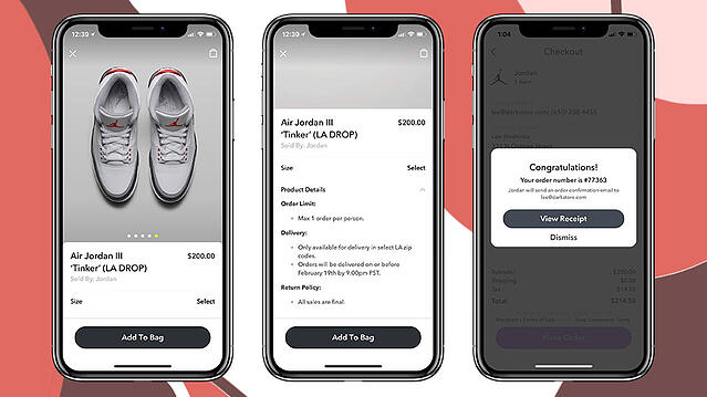 Image of ordering process of shoes on three phone screens.