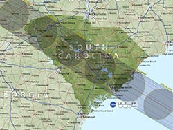 Solar eclipse's projected path through South Carolina.