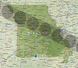 Solar eclipse's projected path through Missouri.