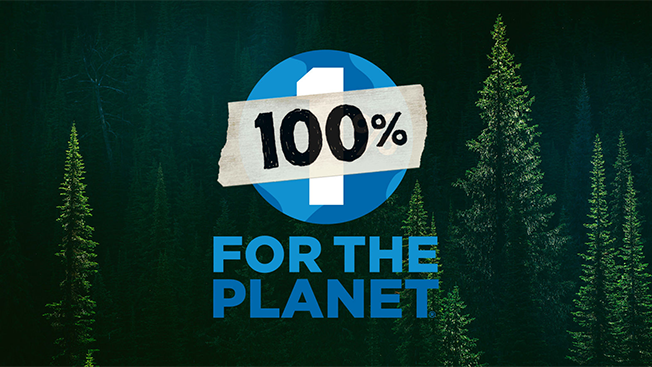 "A logo that reads, ""100% for the planet"" with trees behind the logo."